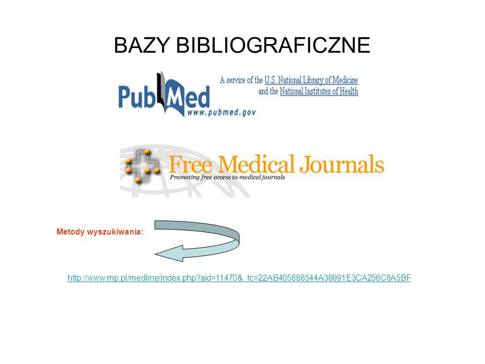 BAZY BIBLIOGRAFICZNE http://www.mp.pl/medline/index.php?aid=11470&_tc=22AB405888544A38991E3CA256C8A5BF Metody wyszukiwania: