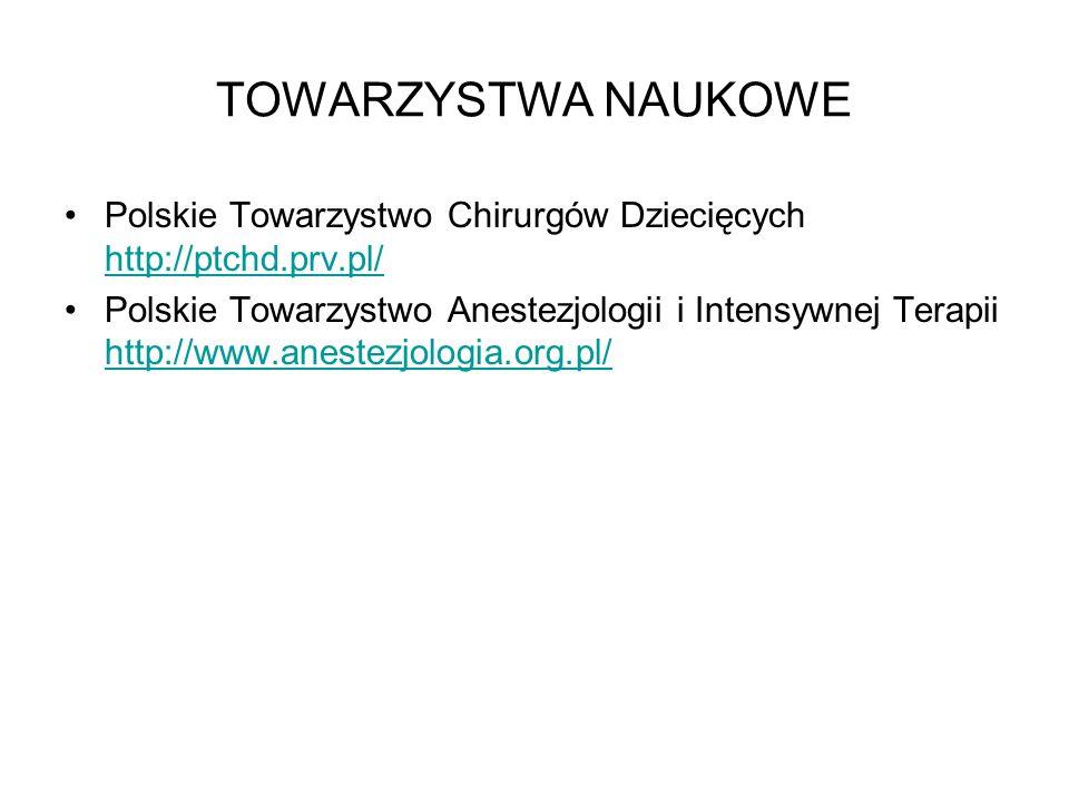 TOWARZYSTWA NAUKOWE Polskie Towarzystwo Chirurgów Dziecięcych http://ptchd.prv.pl/ http://ptchd.prv.pl/ Polskie Towarzystwo Anestezjologii i Intensywn
