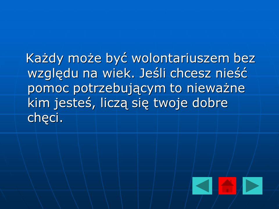 Instytucje zrzeszające wolontariuszy Najbardziej znanymi instytucjami zrzeszającymi wolontariuszy w Polsce są: Wielka Orkiestra Świątecznej Pomocy, Polski Czerwony Krzyż, a także ZHP, w którym harcerze chętnie biorą udział w akcjach mających na celu niesienia pomocy potrzebującym Najbardziej znanymi instytucjami zrzeszającymi wolontariuszy w Polsce są: Wielka Orkiestra Świątecznej Pomocy, Polski Czerwony Krzyż, a także ZHP, w którym harcerze chętnie biorą udział w akcjach mających na celu niesienia pomocy potrzebującym