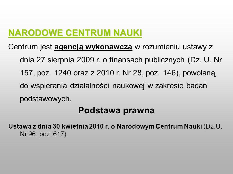 NARODOWE CENTRUM NAUKI Centrum jest agencją wykonawczą w rozumieniu ustawy z dnia 27 sierpnia 2009 r. o finansach publicznych (Dz. U. Nr 157, poz. 124