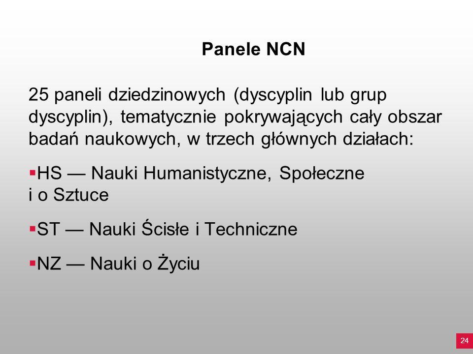 Panele NCN 25 paneli dziedzinowych (dyscyplin lub grup dyscyplin), tematycznie pokrywających cały obszar badań naukowych, w trzech głównych działach: