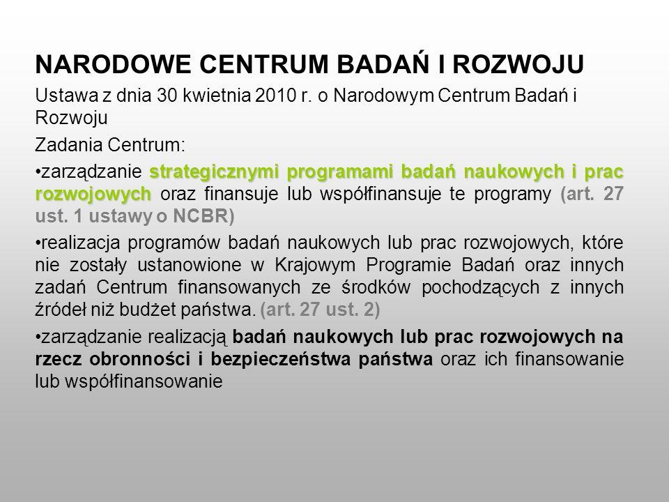 NARODOWE CENTRUM BADAŃ I ROZWOJU Ustawa z dnia 30 kwietnia 2010 r. o Narodowym Centrum Badań i Rozwoju Zadania Centrum: strategicznymi programami bada