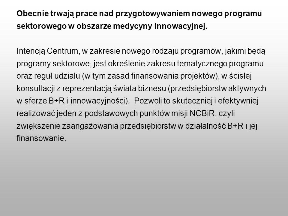 Obecnie trwają prace nad przygotowywaniem nowego programu sektorowego w obszarze medycyny innowacyjnej. Intencją Centrum, w zakresie nowego rodzaju pr