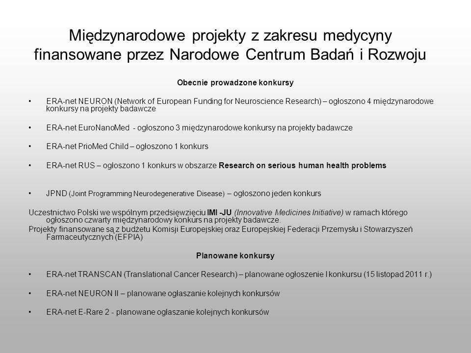 Międzynarodowe projekty z zakresu medycyny finansowane przez Narodowe Centrum Badań i Rozwoju Obecnie prowadzone konkursy ERA-net NEURON (Network of E