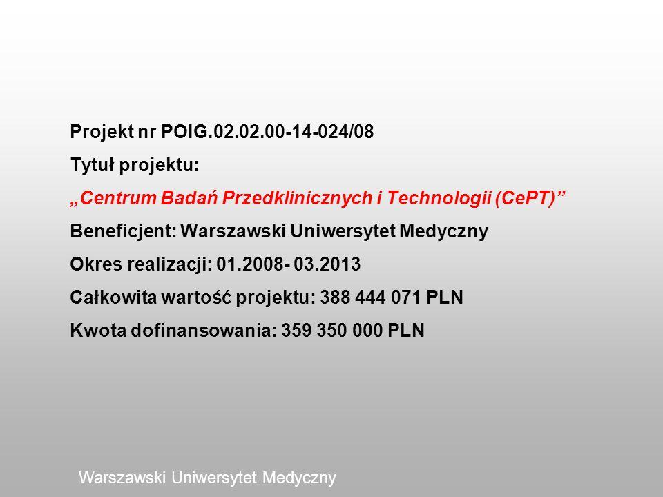 Projekt nr POIG.02.02.00-14-024/08 Tytuł projektu: Centrum Badań Przedklinicznych i Technologii (CePT) Beneficjent: Warszawski Uniwersytet Medyczny Ok