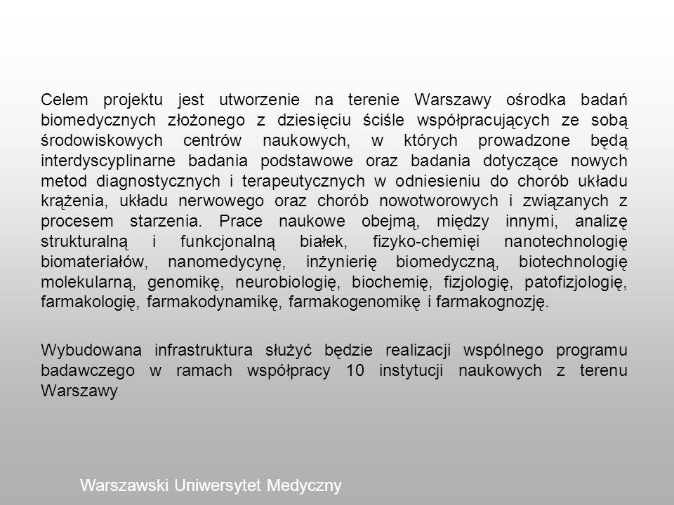 Warszawski Uniwersytet Medyczny Celem projektu jest utworzenie na terenie Warszawy ośrodka badań biomedycznych złożonego z dziesięciu ściśle współprac
