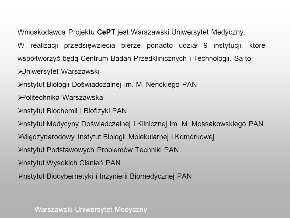 Warszawski Uniwersytet Medyczny Wnioskodawcą Projektu CePT jest Warszawski Uniwersytet Medyczny. W realizacji przedsięwzięcia bierze ponadto udział 9
