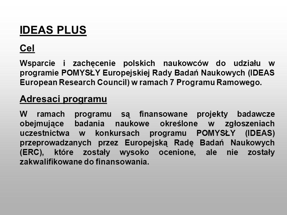 IDEAS PLUS Cel Wsparcie i zachęcenie polskich naukowców do udziału w programie POMYSŁY Europejskiej Rady Badań Naukowych (IDEAS European Research Coun