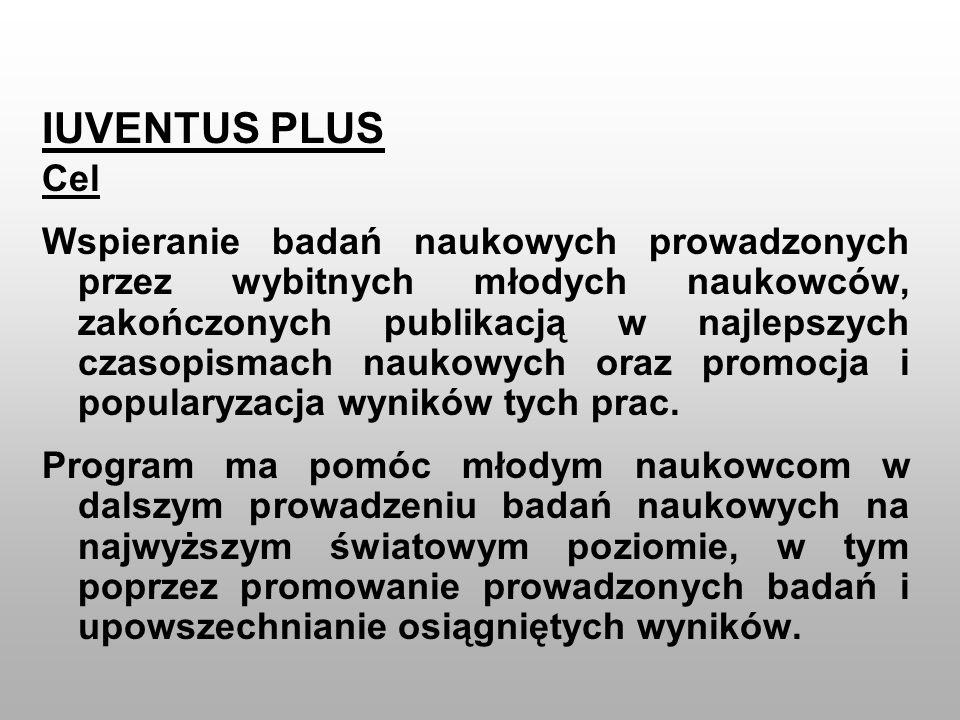 IUVENTUS PLUS Cel Wspieranie badań naukowych prowadzonych przez wybitnych młodych naukowców, zakończonych publikacją w najlepszych czasopismach naukow