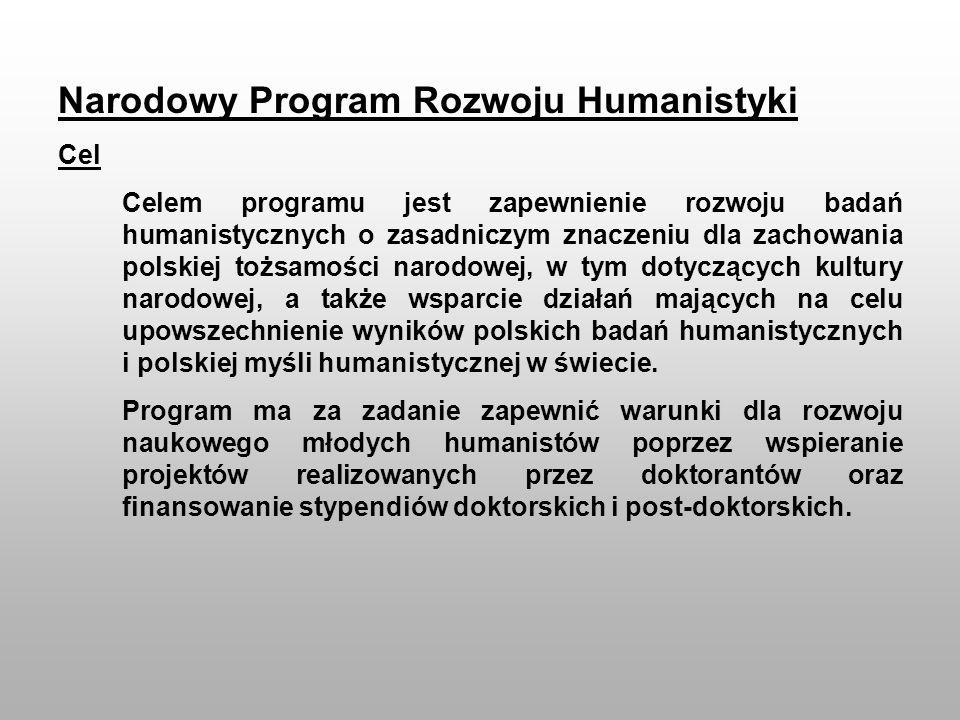 Narodowy Program Rozwoju Humanistyki Cel Celem programu jest zapewnienie rozwoju badań humanistycznych o zasadniczym znaczeniu dla zachowania polskiej
