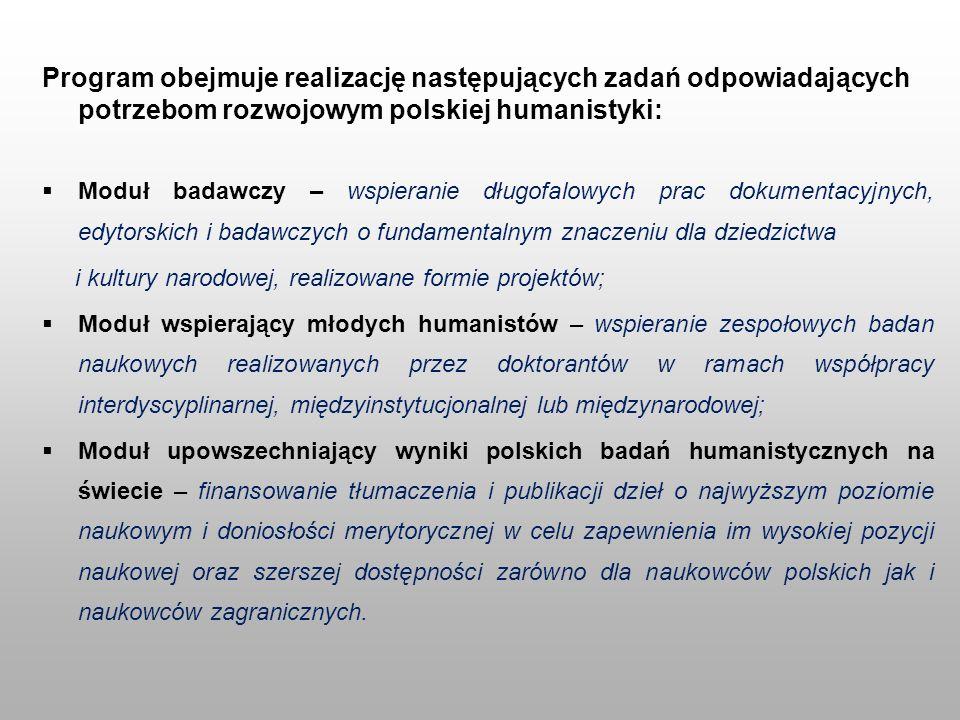 Program obejmuje realizację następujących zadań odpowiadających potrzebom rozwojowym polskiej humanistyki: Moduł badawczy – wspieranie długofalowych p