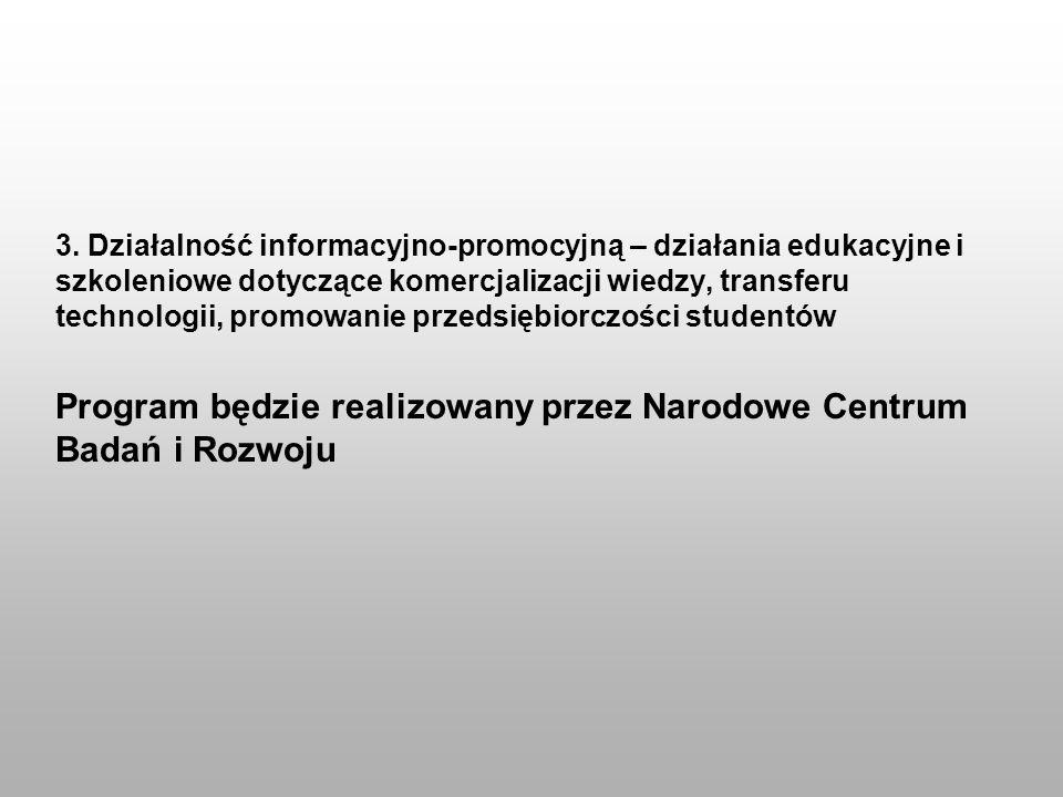 3. Działalność informacyjno-promocyjną – działania edukacyjne i szkoleniowe dotyczące komercjalizacji wiedzy, transferu technologii, promowanie przeds