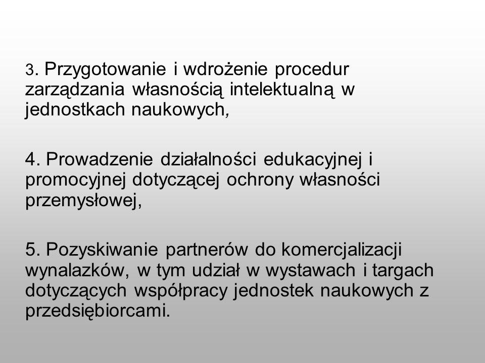 3. Przygotowanie i wdrożenie procedur zarządzania własnością intelektualną w jednostkach naukowych, 4. Prowadzenie działalności edukacyjnej i promocyj