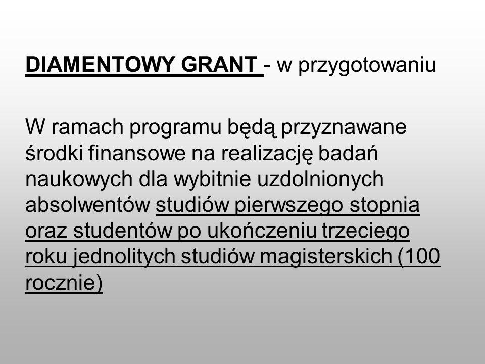 DIAMENTOWY GRANT - w przygotowaniu W ramach programu będą przyznawane środki finansowe na realizację badań naukowych dla wybitnie uzdolnionych absolwe