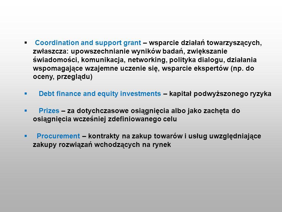 Coordination and support grant – wsparcie działań towarzyszących, zwłaszcza: upowszechnianie wyników badań, zwiększanie świadomości, komunikacja, netw