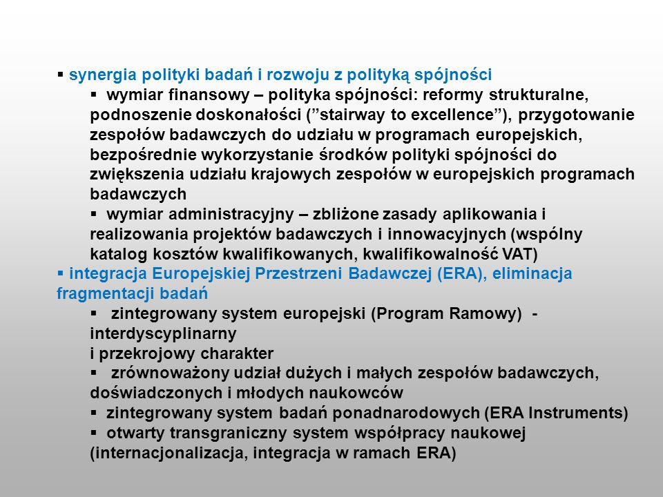 synergia polityki badań i rozwoju z polityką spójności wymiar finansowy – polityka spójności: reformy strukturalne, podnoszenie doskonałości (stairway