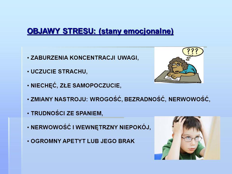 OBJAWY STRESU: (stany emocjonalne) ZABURZENIA KONCENTRACJI UWAGI, UCZUCIE STRACHU, NIECHĘĆ, ZŁE SAMOPOCZUCIE, ZMIANY NASTROJU: WROGOŚĆ, BEZRADNOŚĆ, NE