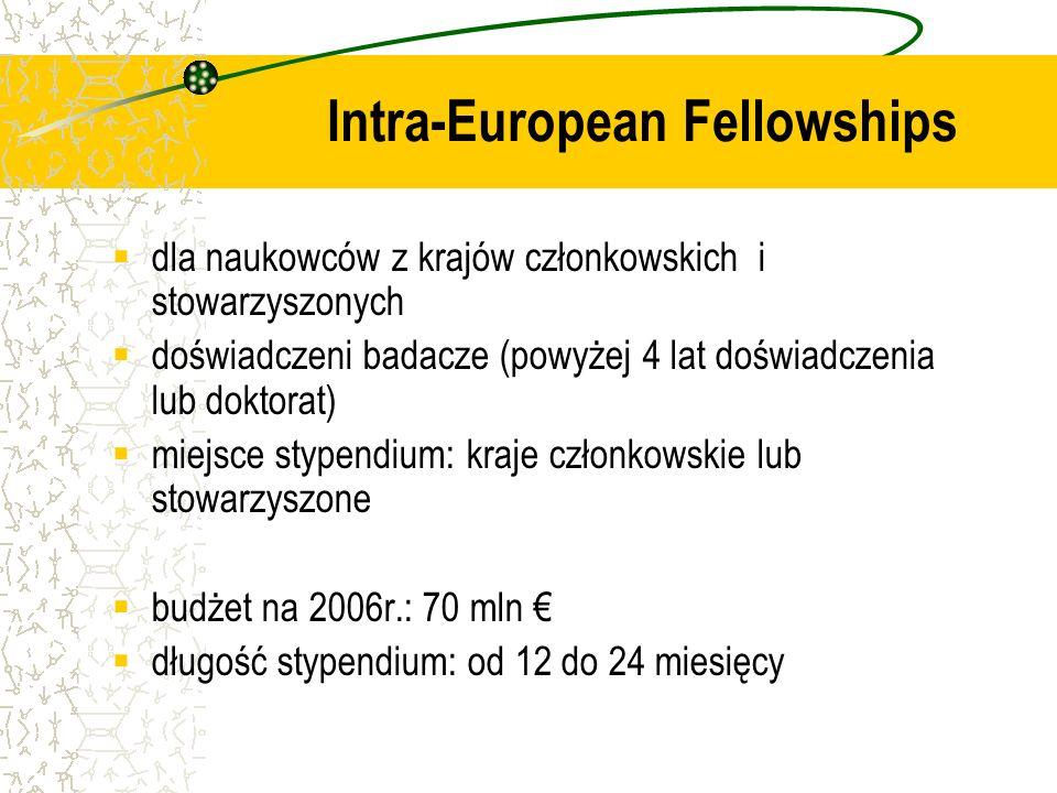 dla naukowców z krajów członkowskich i stowarzyszonych doświadczeni badacze (powyżej 4 lat doświadczenia lub doktorat) miejsce stypendium: kraje członkowskie lub stowarzyszone budżet na 2006r.: 70 mln długość stypendium: od 12 do 24 miesięcy Intra-European Fellowships