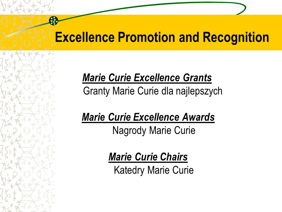 Marie Curie Excellence Grants Granty Marie Curie dla najlepszych Marie Curie Excellence Awards Nagrody Marie Curie Marie Curie Chairs Katedry Marie Curie Excellence Promotion and Recognition