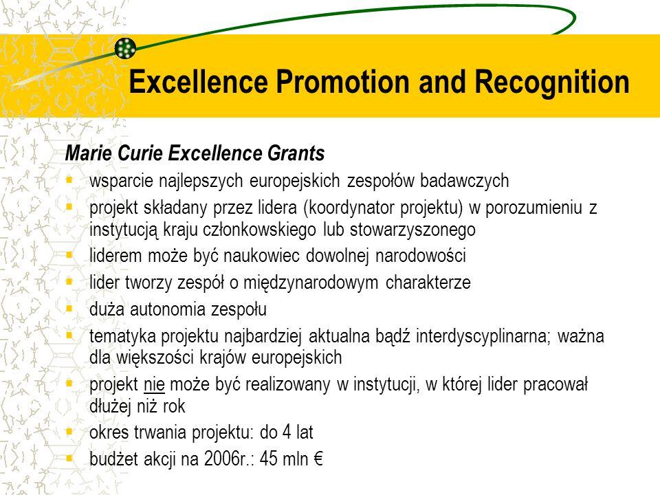 Marie Curie Excellence Grants wsparcie najlepszych europejskich zespołów badawczych projekt składany przez lidera (koordynator projektu) w porozumieniu z instytucją kraju członkowskiego lub stowarzyszonego liderem może być naukowiec dowolnej narodowości lider tworzy zespół o międzynarodowym charakterze duża autonomia zespołu tematyka projektu najbardziej aktualna bądź interdyscyplinarna; ważna dla większości krajów europejskich projekt nie może być realizowany w instytucji, w której lider pracował dłużej niż rok okres trwania projektu: do 4 lat budżet akcji na 2006r.: 45 mln Excellence Promotion and Recognition