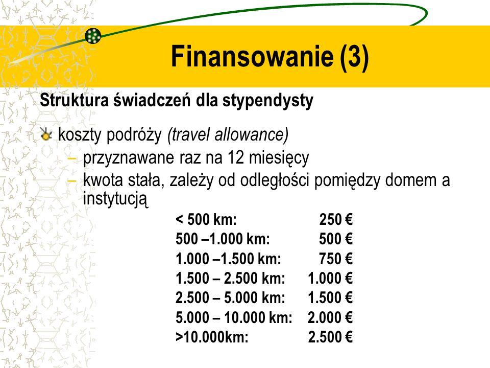 Struktura świadczeń dla stypendysty koszty podróży (travel allowance) –przyznawane raz na 12 miesięcy –kwota stała, zależy od odległości pomiędzy domem a instytucją < 500 km: 250 500 –1.000 km: 500 1.000 –1.500 km: 750 1.500 – 2.500 km: 1.000 2.500 – 5.000 km: 1.500 5.000 – 10.000 km: 2.000 >10.000km: 2.500 Finansowanie (3)