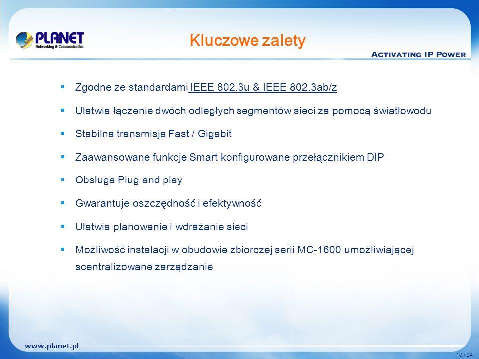 www.planet.pl 10 / 24 Kluczowe zalety Zgodne ze standardami IEEE 802.3u & IEEE 802.3ab/z Ułatwia łączenie dwóch odległych segmentów sieci za pomocą światłowodu Stabilna transmisja Fast / Gigabit Zaawansowane funkcje Smart konfigurowane przełącznikiem DIP Obsługa Plug and play Gwarantuje oszczędność i efektywność Ułatwia planowanie i wdrażanie sieci Możliwość instalacji w obudowie zbiorczej serii MC-1600 umożliwiającej scentralizowane zarządzanie