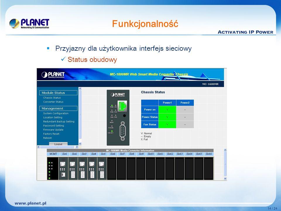 www.planet.pl 14 / 24 Funkcjonalność P rzyjazny dla użytkownika interfejs s ieciowy Status obudowy