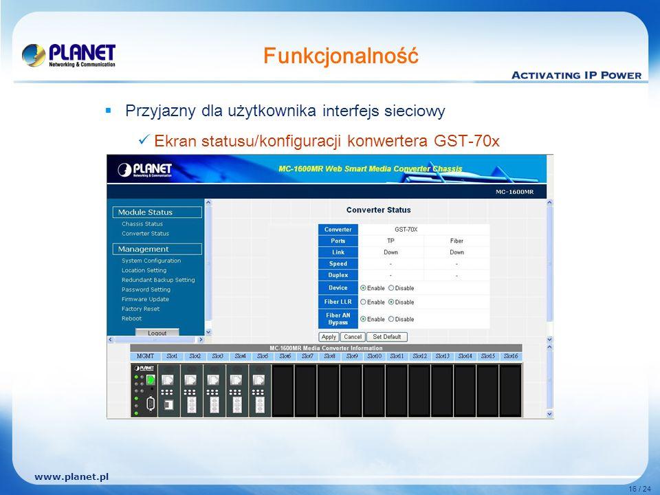 www.planet.pl 16 / 24 Funkcjonalność Przyjazny dla użytkownika interfejs sieciowy Ekran statusu /konfiguracji konwertera G ST- 7 0x