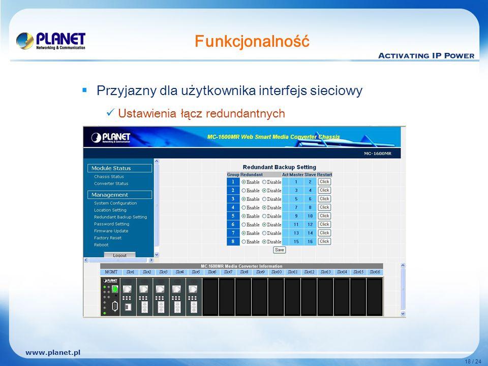 www.planet.pl 18 / 24 Funkcjonalność Przyjazny dla użytkownika interfejs sieciowy Ustawienia łącz redundantnych