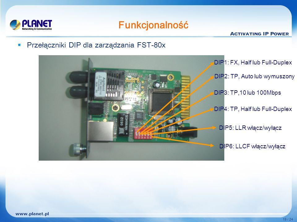 www.planet.pl 19 / 24 Funkcjonalność Przełączniki DIP dla zarządzania FST-80x DIP1: FX, Half lub Full-Duplex DIP2: TP, Auto lub wymuszony DIP3: TP,10 lub 100Mbps DIP4: TP, Half lub Full-Duplex DIP5: LLR włącz/wyłącz DIP6: LLCF włącz/wyłącz