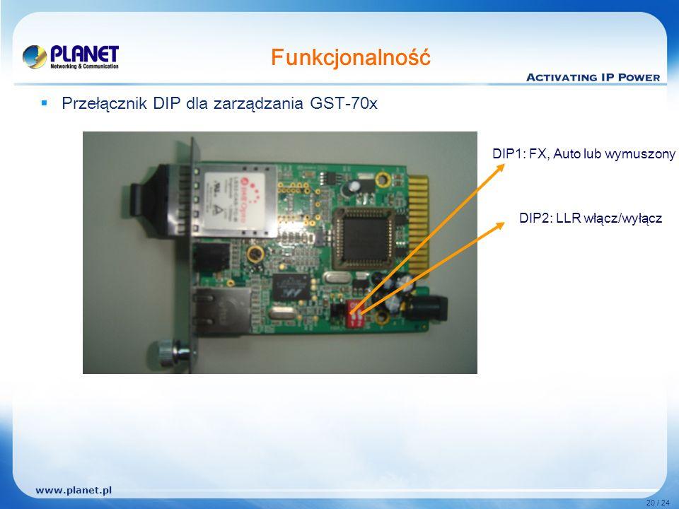 www.planet.pl 20 / 24 Funkcjonalność Przełącznik DIP dla zarządzania GST-70x DIP1: FX, Auto lub wymuszony DIP2: LLR włącz/wyłącz