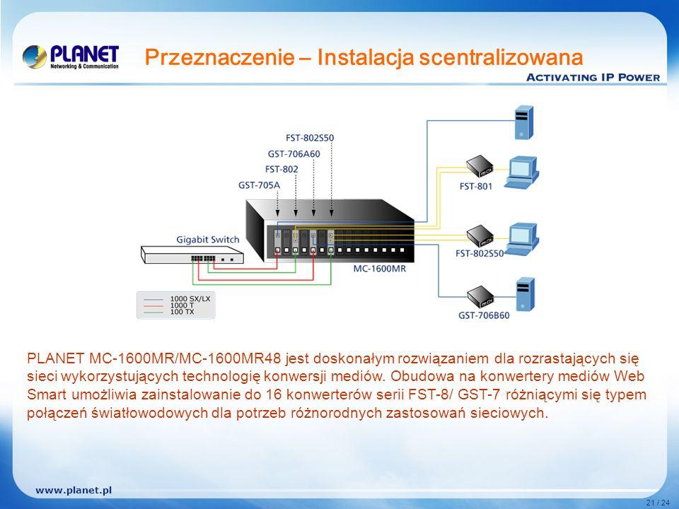 www.planet.pl 21 / 24 Przeznaczenie – Instalacja scentralizowana PLANET MC-1600MR/MC-1600MR48 jest doskonałym rozwiązaniem dla rozrastających się sieci wykorzystujących technologię konwersji mediów.