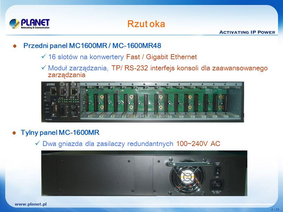 www.planet.pl 4 / 24 Rzut oka Przedni panel MC1600MR / MC-1600MR48 16 slotów na konwertery Fast / Gigabit Ethernet Moduł zarządzania, TP/ RS-232 interfejs konsoli dla zaawansowanego zarządzania Tylny panel MC-1600MR Dwa gniazda dla zasilaczy redundantnych 100~240V AC