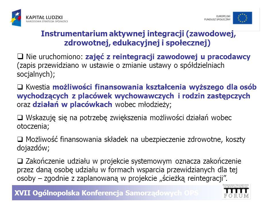 Instrumentarium aktywnej integracji (zawodowej, zdrowotnej, edukacyjnej i społecznej) Nie uruchomiono: zajęć z reintegracji zawodowej u pracodawcy (za