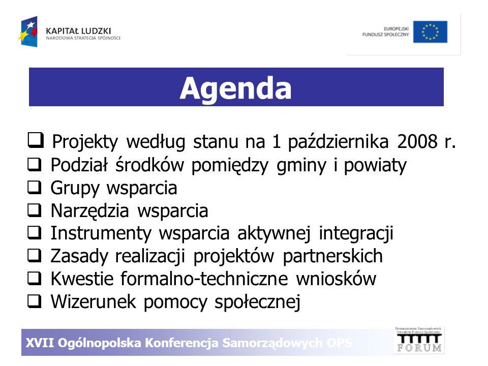 Agenda Projekty według stanu na 1 października 2008 r. Podział środków pomiędzy gminy i powiaty Grupy wsparcia Narzędzia wsparcia Instrumenty wsparcia