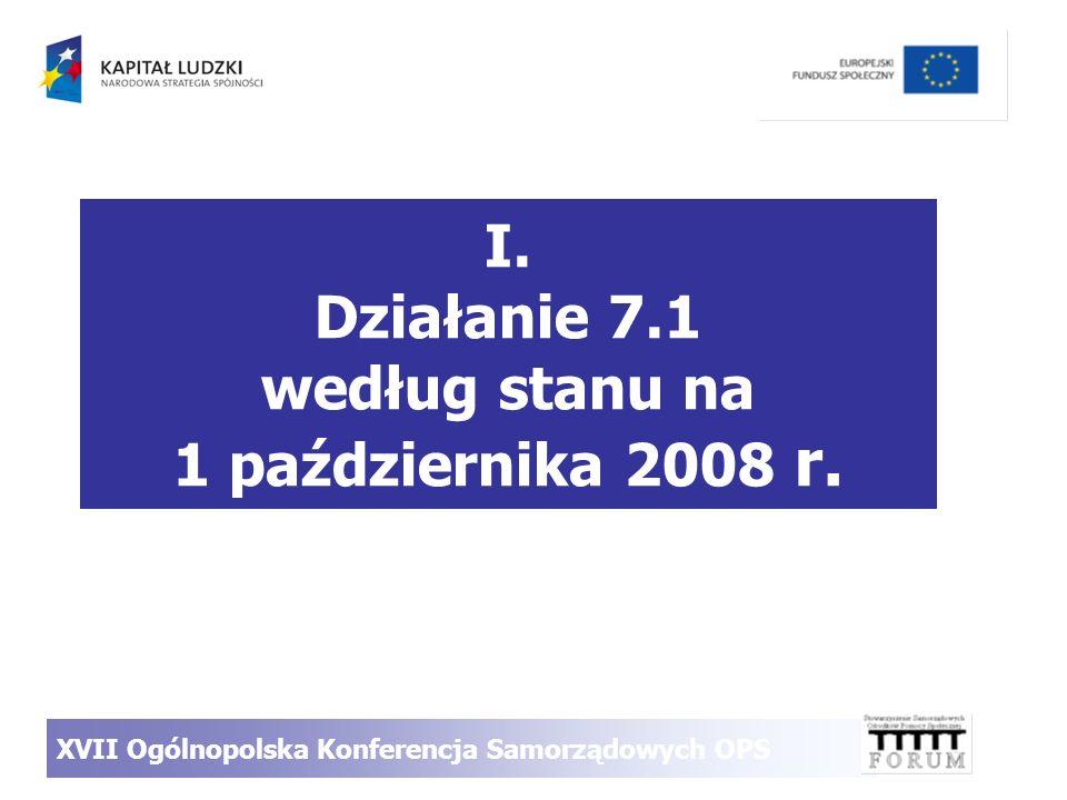 I. Działanie 7.1 według stanu na 1 października 2008 r. XVII Ogólnopolska Konferencja Samorządowych OPS