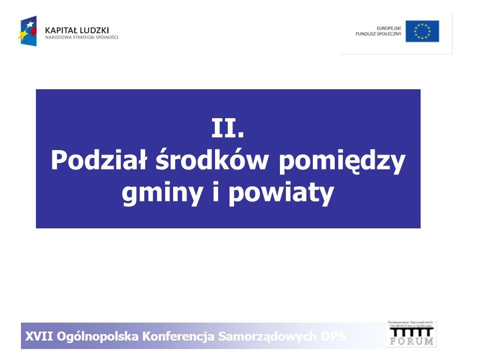II. Podział środków pomiędzy gminy i powiaty XVII Ogólnopolska Konferencja Samorządowych OPS