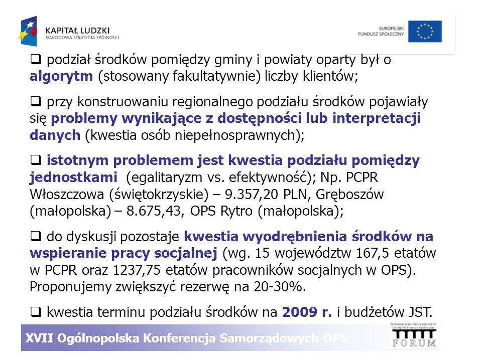 podział środków pomiędzy gminy i powiaty oparty był o algorytm (stosowany fakultatywnie) liczby klientów; przy konstruowaniu regionalnego podziału śro