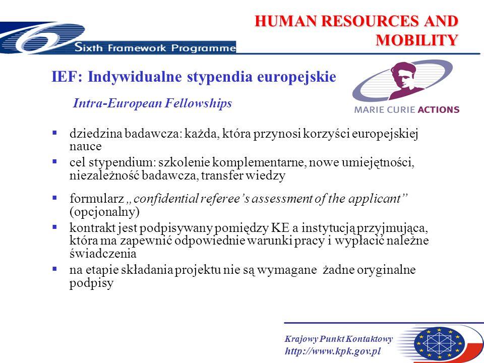 Krajowy Punkt Kontaktowy http://www.kpk.gov.pl HUMAN RESOURCES AND MOBILITY IEF: Indywidualne stypendia europejskie Intra-European Fellowships dziedzina badawcza: każda, która przynosi korzyści europejskiej nauce cel stypendium: szkolenie komplementarne, nowe umiejętności, niezależność badawcza, transfer wiedzy formularz confidential referees assessment of the applicant (opcjonalny) kontrakt jest podpisywany pomiędzy KE a instytucją przyjmująca, która ma zapewnić odpowiednie warunki pracy i wypłacić należne świadczenia na etapie składania projektu nie są wymagane żadne oryginalne podpisy