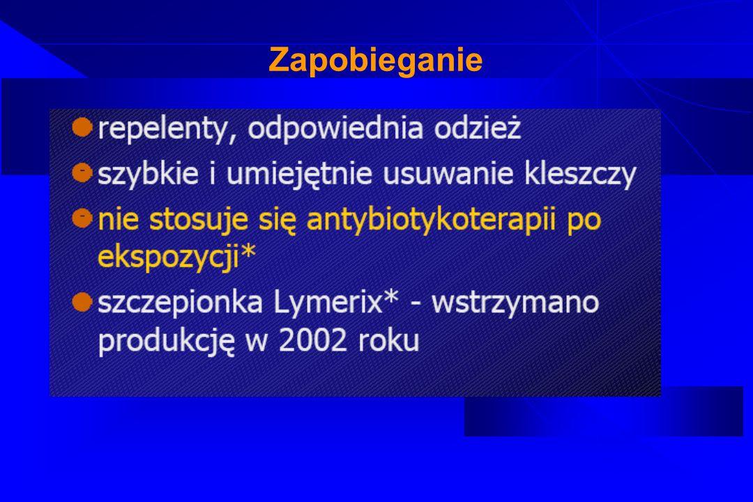 Tularemia Etiologia: Gram-ujemna pałeczka Francisella tularensis Nieruchoma, wrażliwa na działanie środków chemicznych, oporna na działanie niskiej temperatury Epidemiologia: rozpowszechniona głównie na półkuli północnej, źródłem zakażenia w Polsce mogą być zające, zanieczyszczona woda, przenosicielem zarazka są kleszcze, nie przenosi się bezpośredni z człowieka na człowieka Patogeneza: zakażenie najczęściej następuje poprzez uszkodzone powłoki skórne, spojówki, czy śluzowki