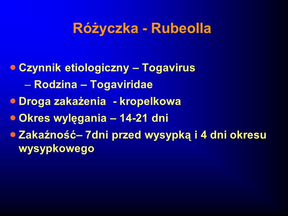 Różyczka - Rubeolla Czynnik etiologiczny – Togavirus –Rodzina – Togaviridae Droga zakażenia - kropelkowa Okres wylęgania – 14-21 dni Zakaźność– 7dni p