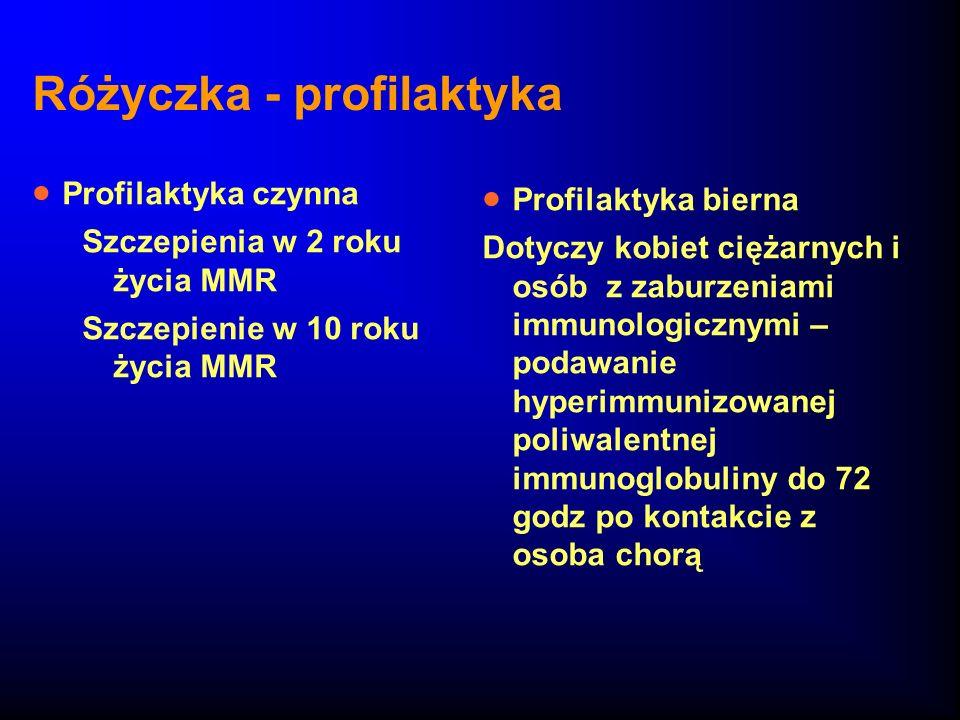Różyczka - profilaktyka Profilaktyka czynna Szczepienia w 2 roku życia MMR Szczepienie w 10 roku życia MMR Profilaktyka bierna Dotyczy kobiet ciężarny