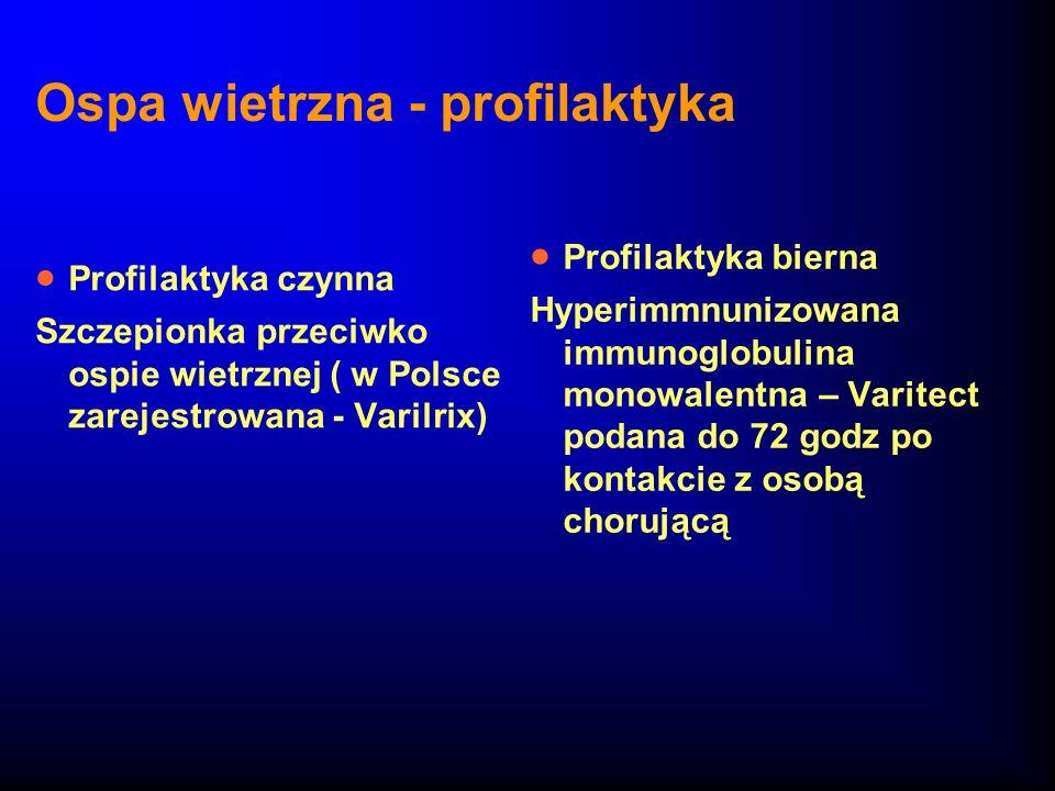 Ospa wietrzna - profilaktyka Profilaktyka czynna Szczepionka przeciwko ospie wietrznej ( w Polsce zarejestrowana - Varilrix) Profilaktyka bierna Hyper