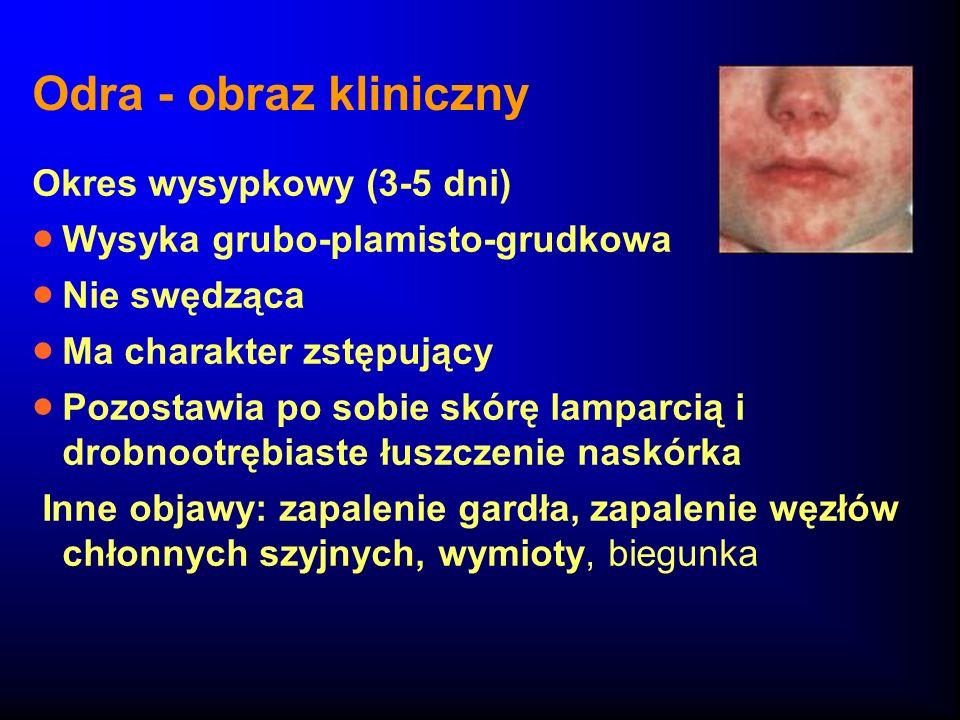 Odra - obraz kliniczny Okres wysypkowy (3-5 dni) Wysyka grubo-plamisto-grudkowa Nie swędząca Ma charakter zstępujący Pozostawia po sobie skórę lamparc