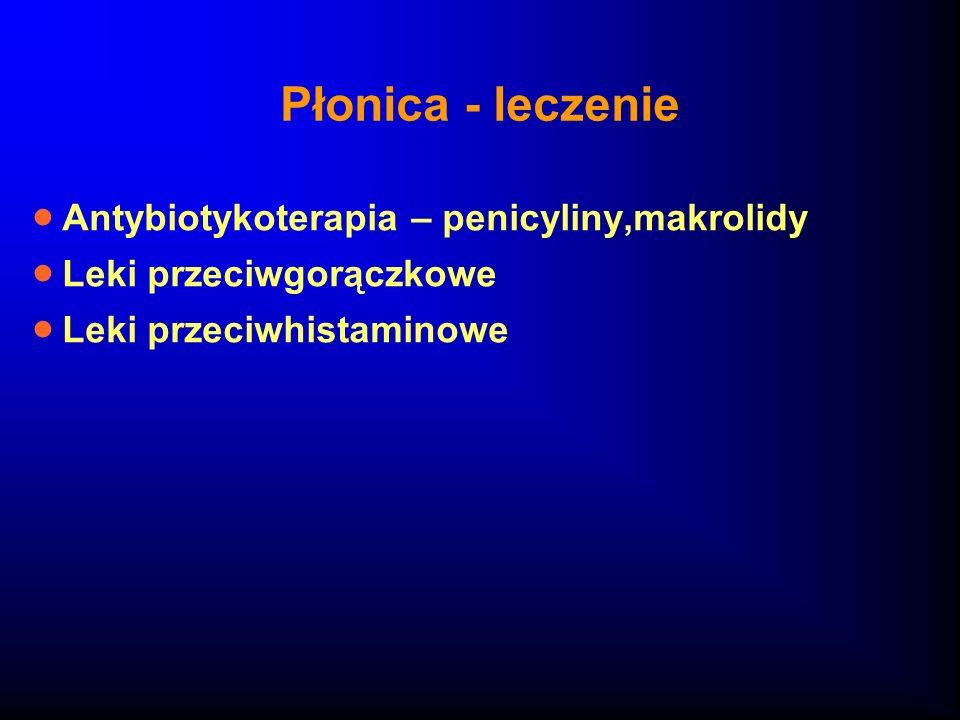 Płonica - leczenie Antybiotykoterapia – penicyliny,makrolidy Leki przeciwgorączkowe Leki przeciwhistaminowe