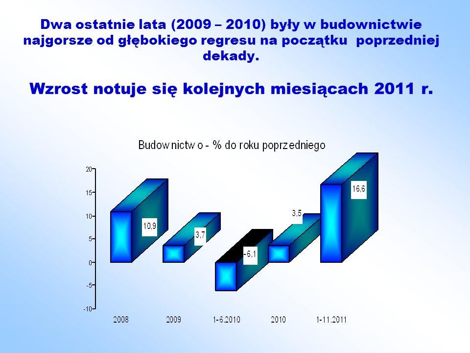 Dwa ostatnie lata (2009 – 2010) były w budownictwie najgorsze od głębokiego regresu na początku poprzedniej dekady.