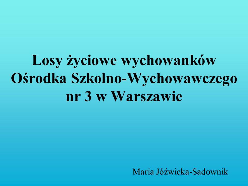 Losy życiowe wychowanków Ośrodka Szkolno-Wychowawczego nr 3 w Warszawie Maria Jóźwicka-Sadownik