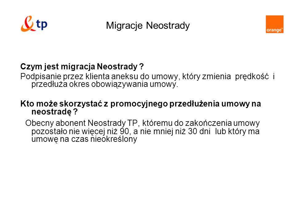 Migracje Neostrady Czym jest migracja Neostrady ? Podpisanie przez klienta aneksu do umowy, który zmienia prędkość i przedłuża okres obowiązywania umo