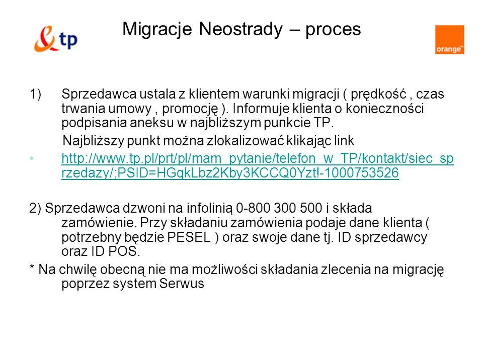Migracje Neostrady – proces 1)Sprzedawca ustala z klientem warunki migracji ( prędkość, czas trwania umowy, promocję ). Informuje klienta o koniecznoś