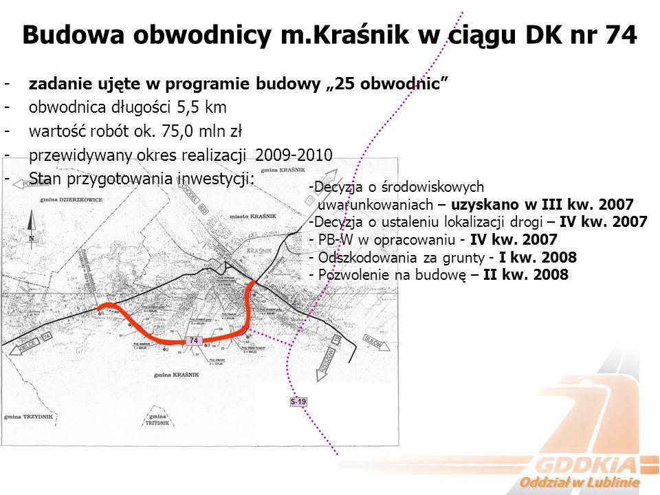 Oddział w Lublinie -zadanie ujęte w programie budowy 25 obwodnic -obwodnica długości 5,5 km -wartość robót ok. 75,0 mln zł -przewidywany okres realiza